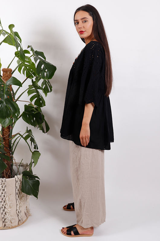 The Brodie Smock Top Black