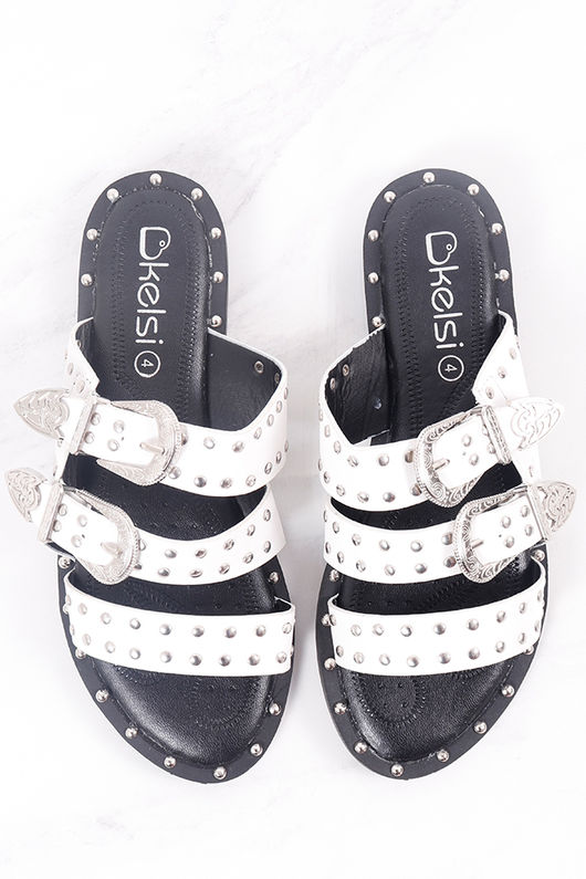 The Buckle Sandal White