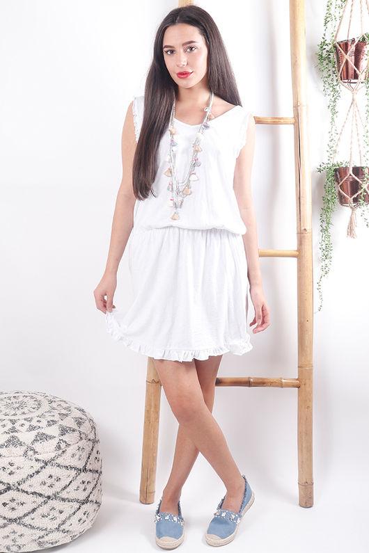 The Calabasas Frill Sun Dress White