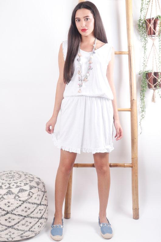 The Calabasis Frill Sun Dress White