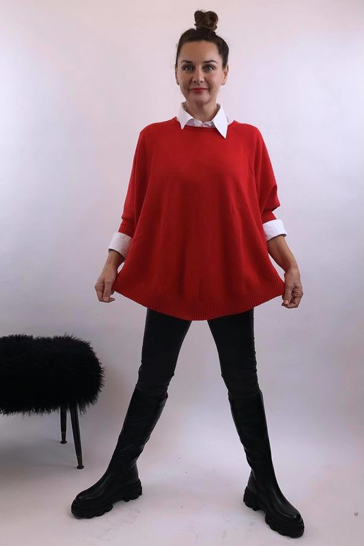 The Charli Batwing Sway Knit Red