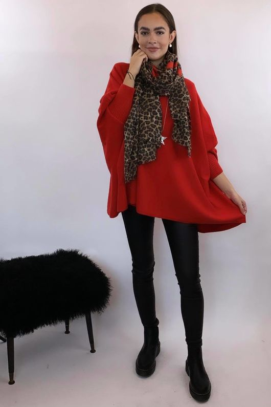 The Charli Oversized Slouchy Knit Red
