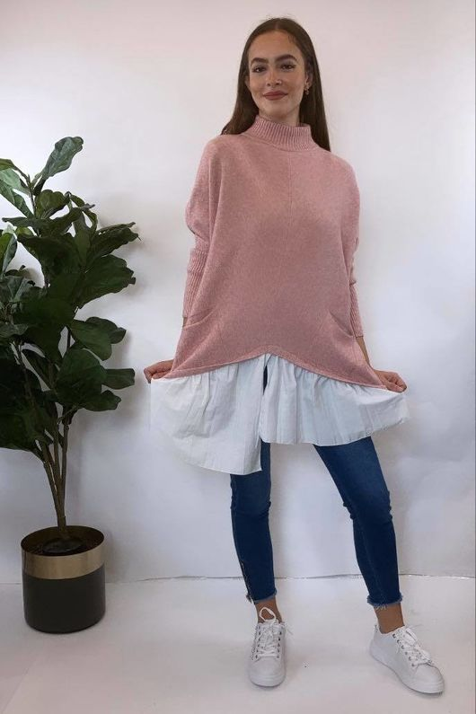 The Charli Turtle Shirty Knit Blush