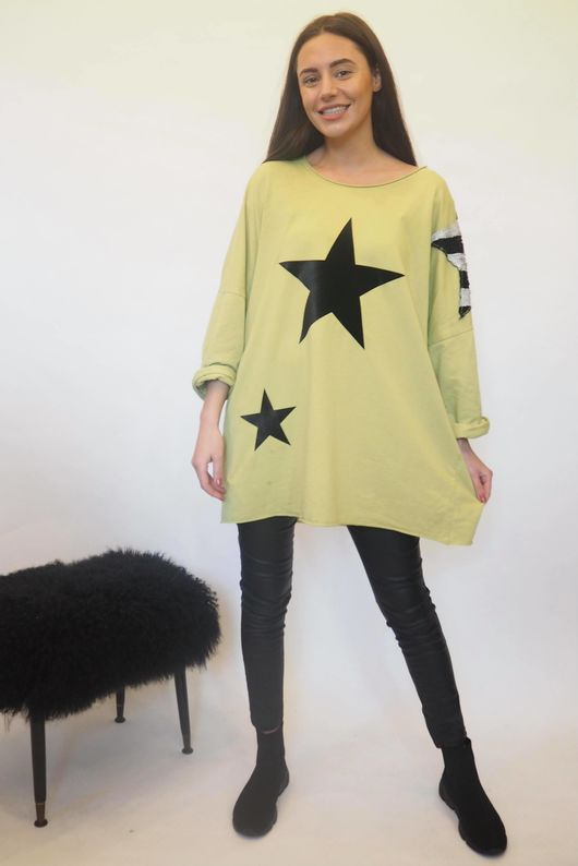The Disco Sequin Star Sweat Acid Lime