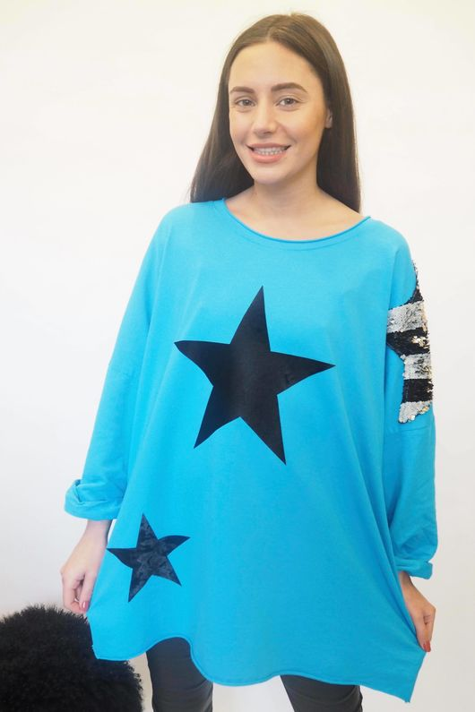 The Disco Sequin Star Sweat Azure