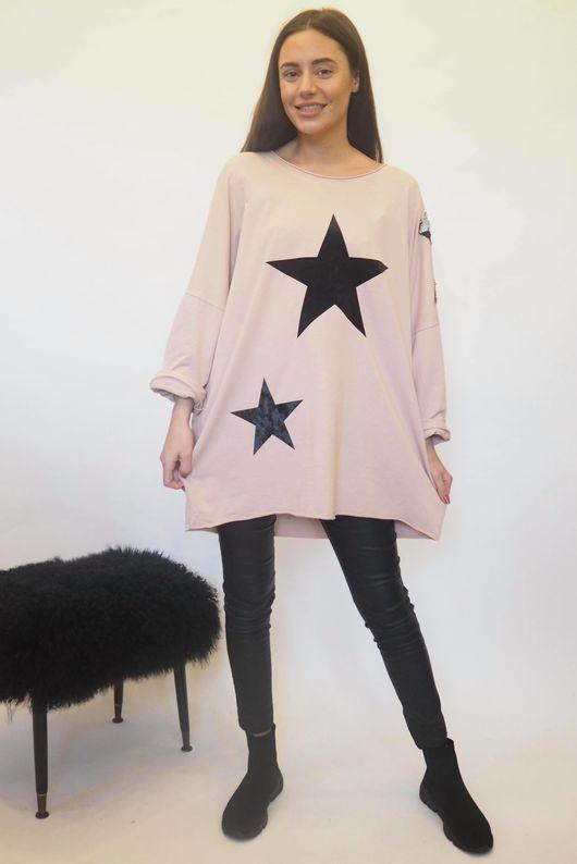 The Disco Sequin Star Sweat Blush