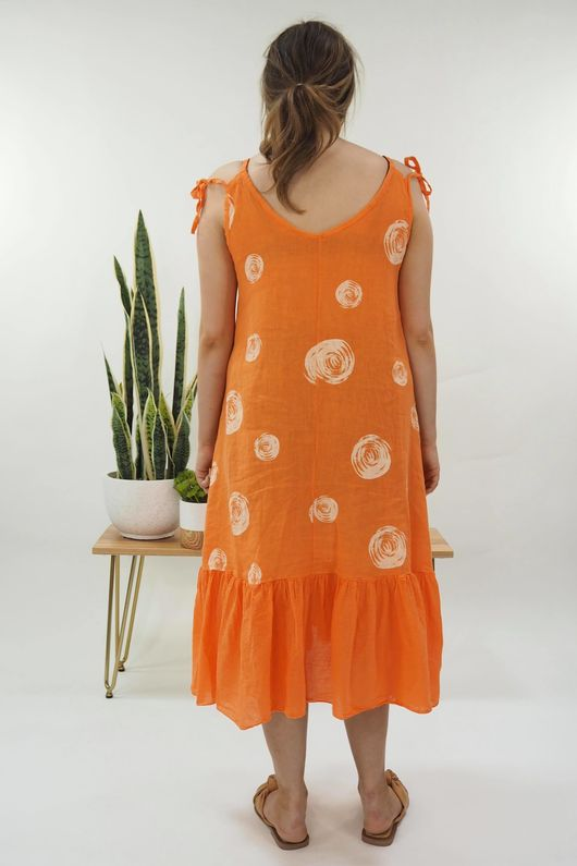 The Dotty Tie Shoulder Ruffle Dress Tangerine