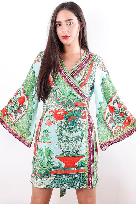 The Lopez Kimono Dress Greenery