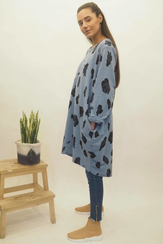 The Macro Leopard Pocket Cocoon Dress Bluebell