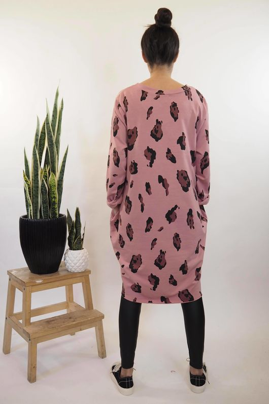 The Macro Leopard Pocket Cocoon Dress Indian Rose