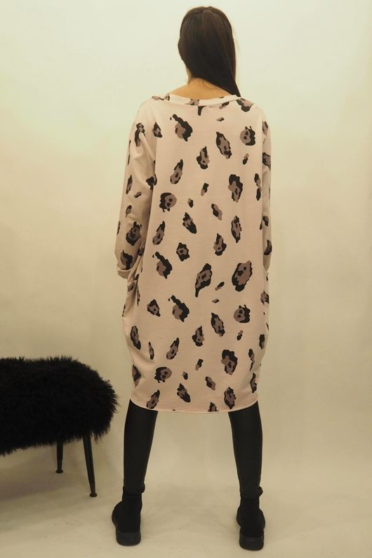 The Macro Leopard Pocket Cocoon Dress Rosewater
