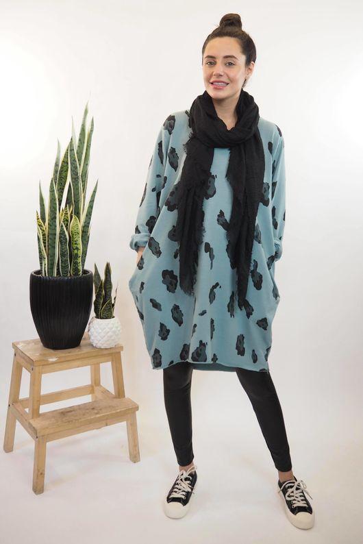 The Macro Leopard Pocket Cocoon Dress Sage