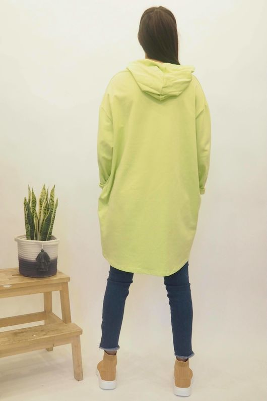 The Mickey Cut Out Hoody Acid Lime