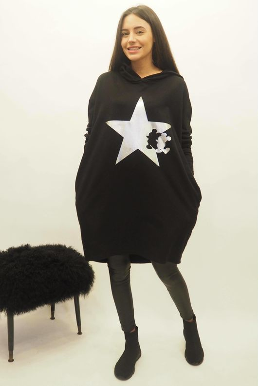 The Mickey Cut Out Hoody Black