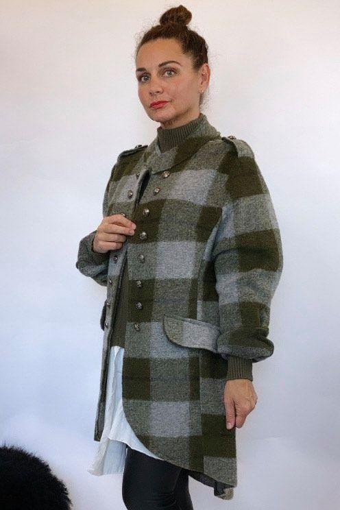 The Military Check Wool Jacket Khaki and Grey