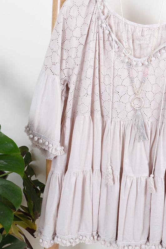 The Mykonos Pom Pom Dress Nude