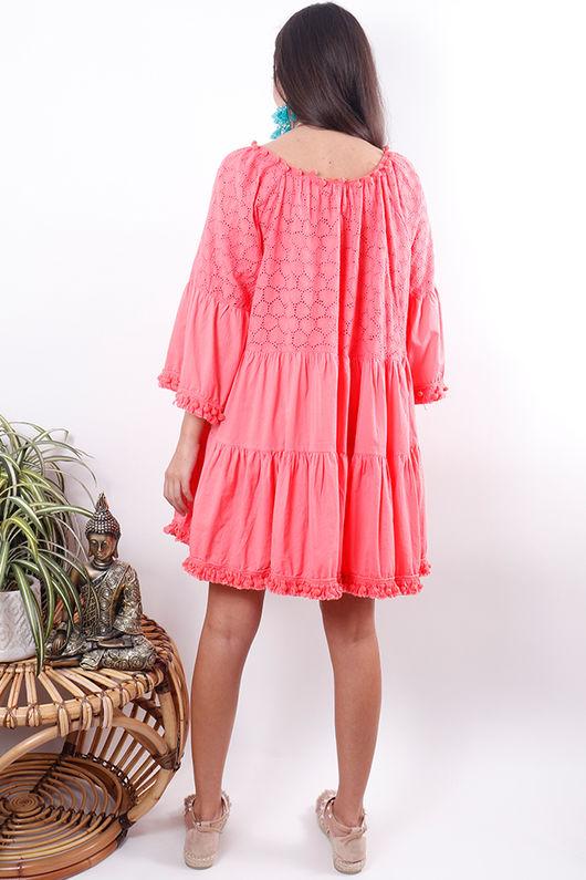The Mykonos Pom Pom Dress Sunset