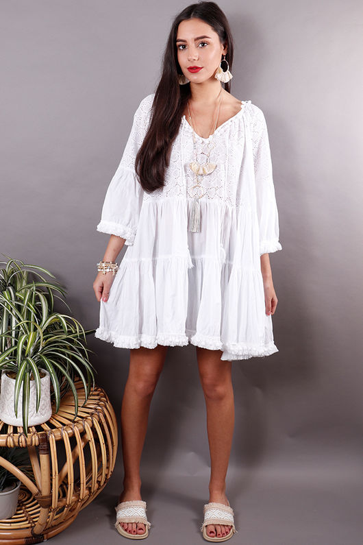 The Mykonos Pom Pom Dress White