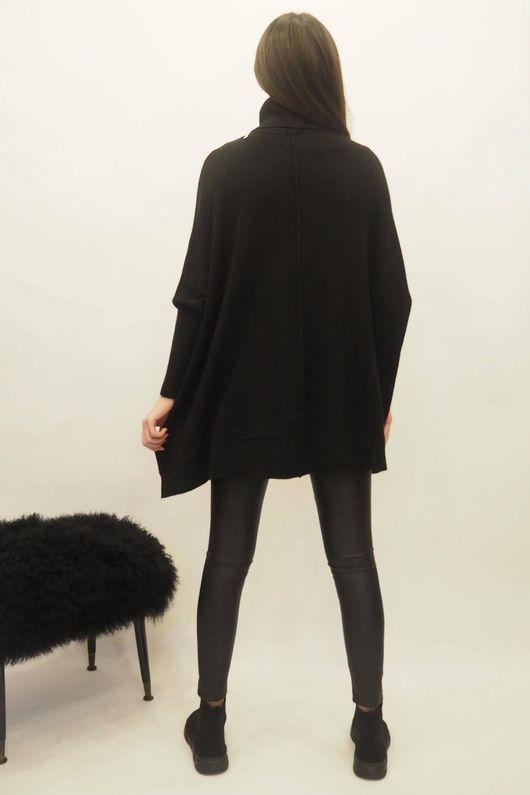The Oversized Charli Seam Box Knit Black