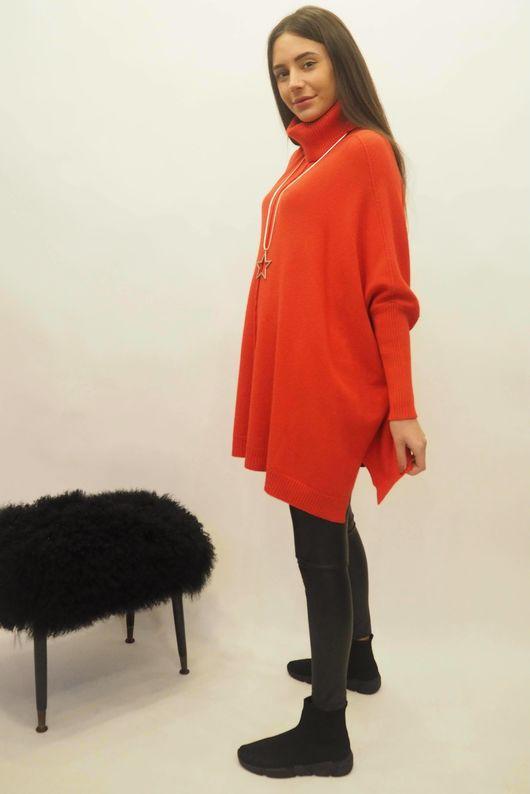 The Oversized Charli Seam Box Knit Red