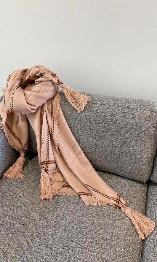 The Oversized Peruvian Tassel Scarf Blush