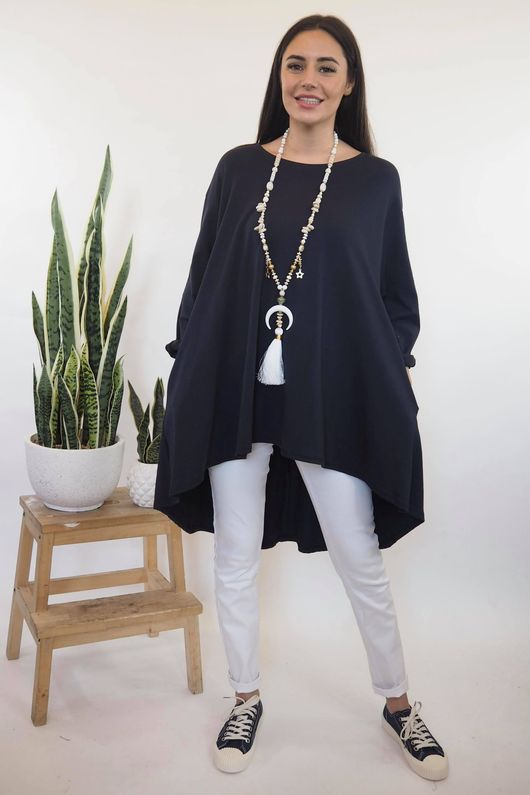The Oversized Trapeze Top Navy