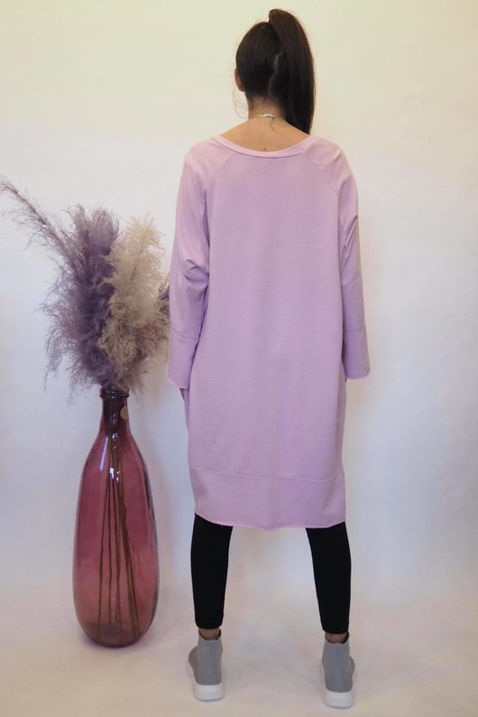 The Raw Edge Front Pocket Cocoon Dress Lilac Haze
