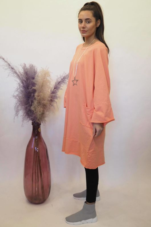 The Raw Edge Front Pocket Cocoon Dress Sherbet