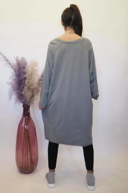 The Raw Edge Front Pocket Cocoon Dress Slate