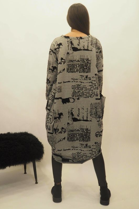 The Script Cocoon Tunic Dress Grey