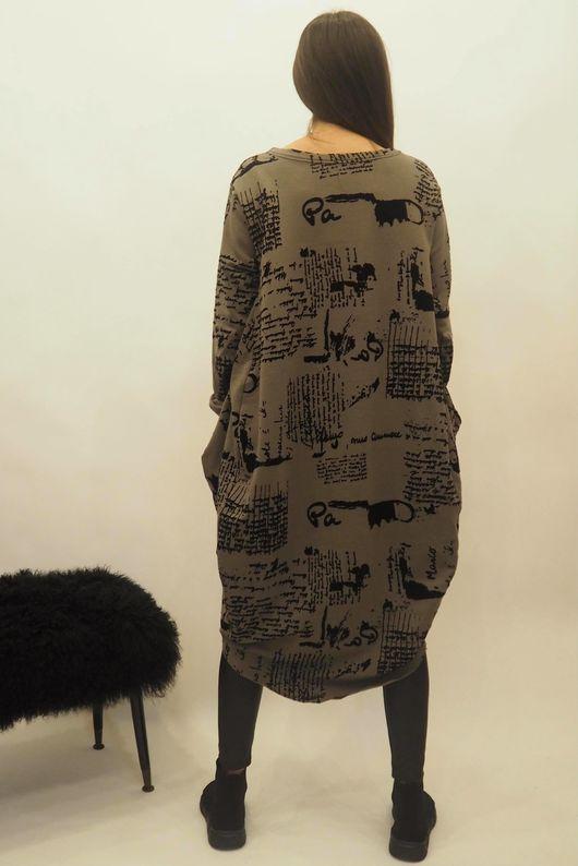 The Script Cocoon Tunic Dress Khaki
