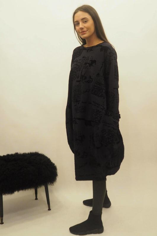The Script Cocoon Tunic Dress Navy