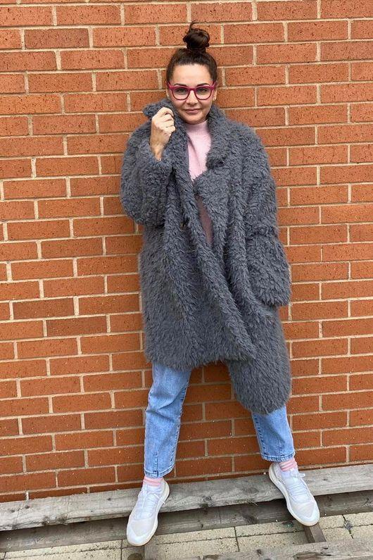 The Super Shag Coat Soft Grey