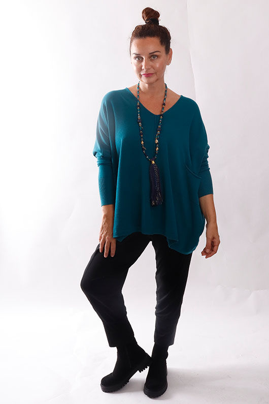 The Tilbury Oversized Relaxed Knit Teal