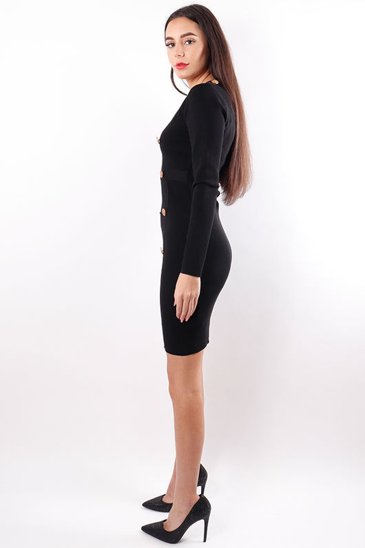V Neck Military Dress Black