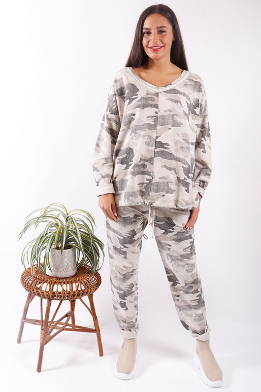 Made In Italy Washed Camo Drawstring Sweat Cream