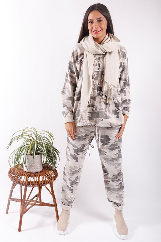 Washed Camo Drawstring Sweat Cream