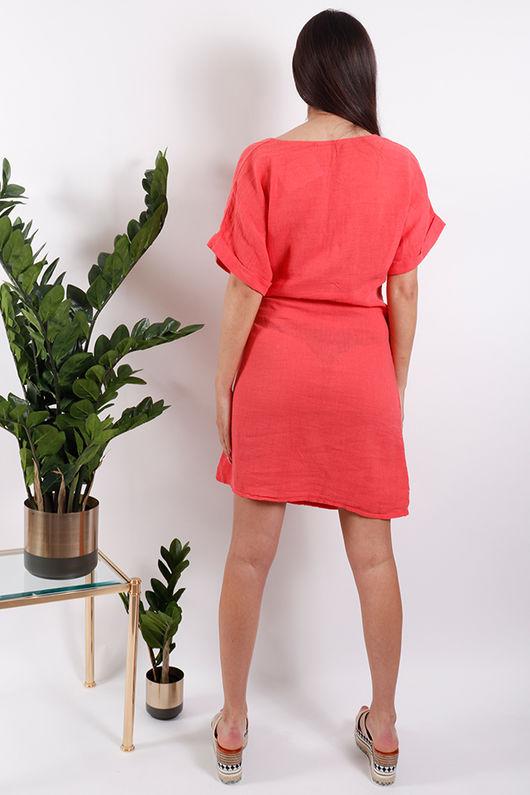 Rio Wrap Linen Dress Coral *PRE ORDER*