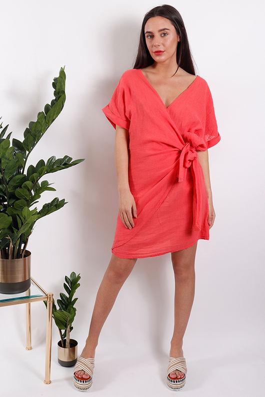 Rio Wrap Linen Dress Coral