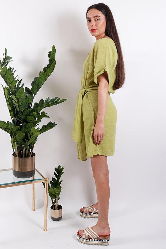 Rio Wrap Linen Dress Lime