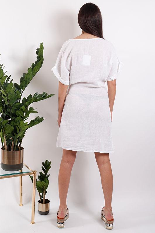 Rio Wrap Linen Dress White