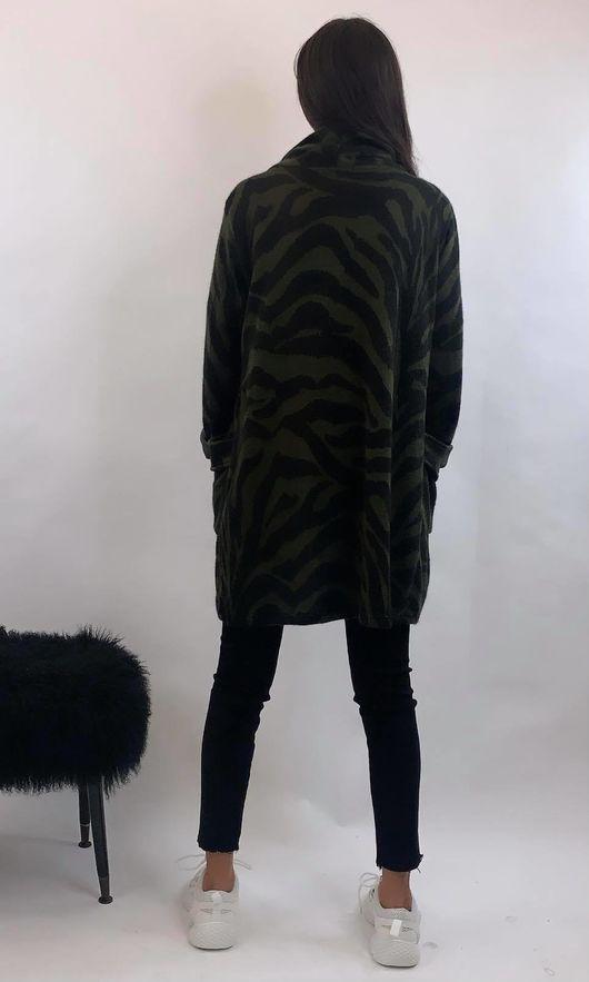 Zebra Pocketed Cardi Khaki